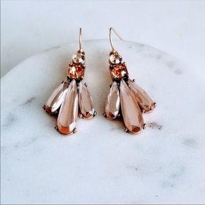 Pink crystal flower drop earrings